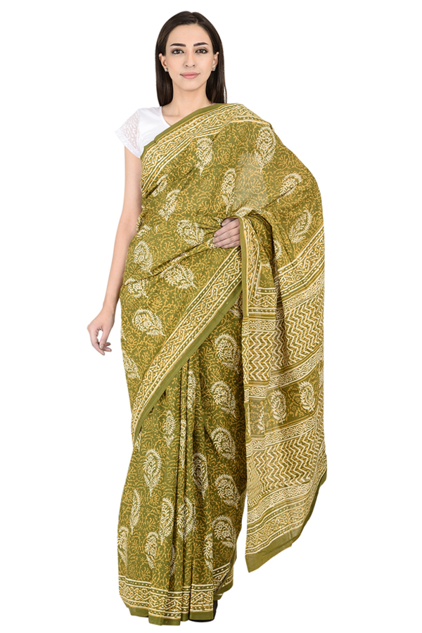 Green and White Floral Design Cotton Block Print saree-20086