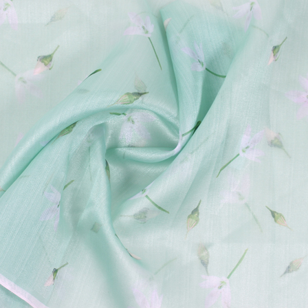 Green and White Flower Organza Digital Print Fabric-51376