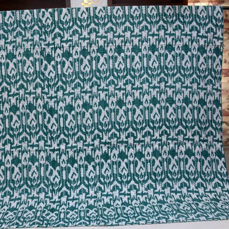 Green and White Handmade Indigo Kantha Quilt-4374