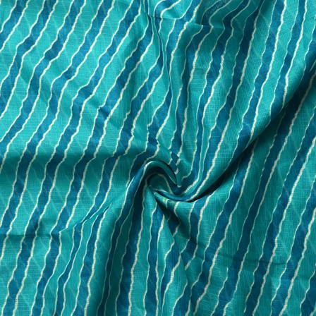 Green and White Lehariya Design Kota Doria Fabric-25052