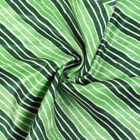 Green and White Lehariya Design Kota Doria Fabric-25069
