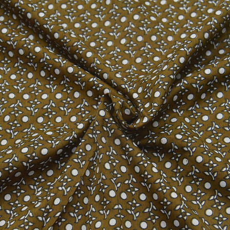 Green and White Polka Dot Pattern Crepe Fabric-18038
