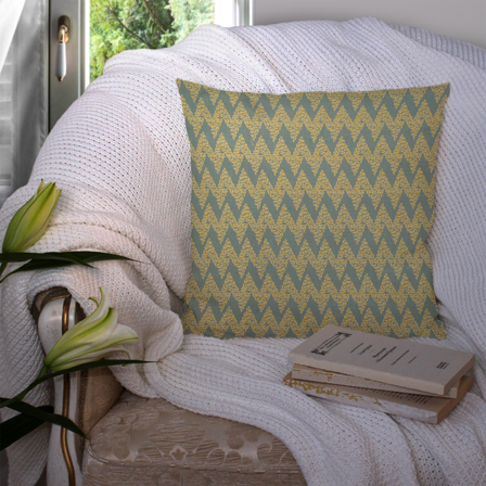 Green and Yellow Cotton Cushion Cover-35028