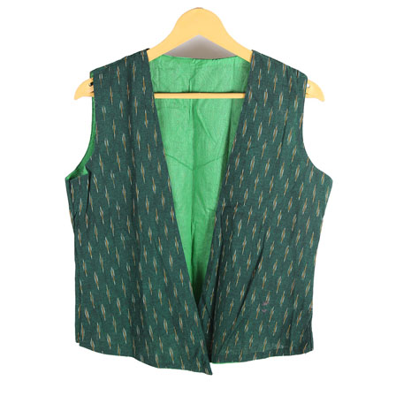 Green and Yellow Cut Sleeve Ikat Cotton Koti Jacket-12224
