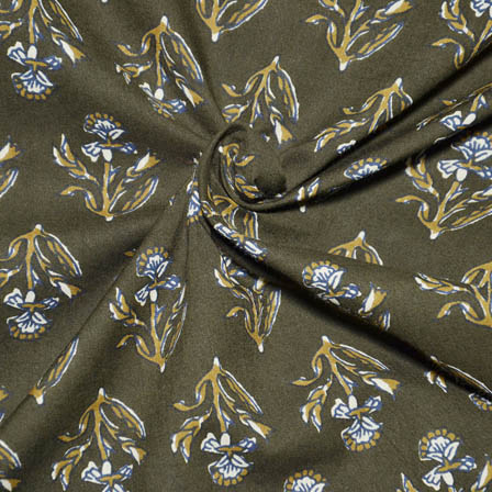 Green and Yellow Floral Shape Block Print Cotton Fabric-14038