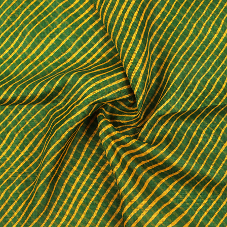Green and Yellow Lehariya Design Kota Doria Fabric-25079