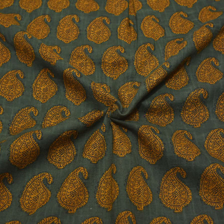 Green and Yellow Paisley Design Block Print Cotton Fabric-14174