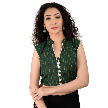 Green and Yellow Sleeveless Cotton Ikat Blouse-30161