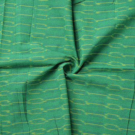Green and Yellow Unique Pattern Cotton Ikat Fabric-12074