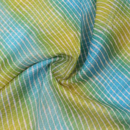 Green and Yellow White Leheriya Kota Doria Fabric-25145