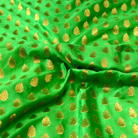 Green and small golden flower shape brocade silk fabric-4682