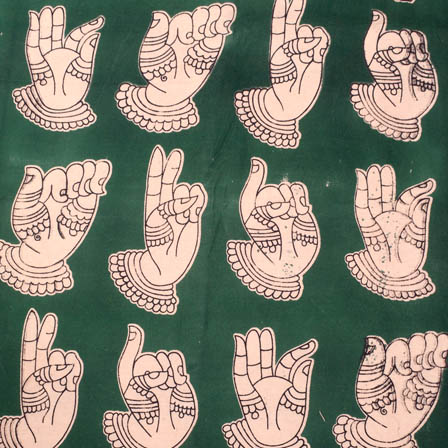 Green and white hand mudra kalamkari fabric-5168