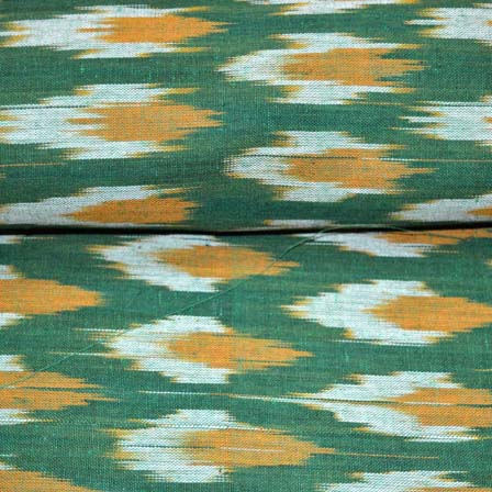 Green orange and White Ikat Fabric