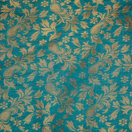 Green paisley flower shape brocade silk fabric-4964