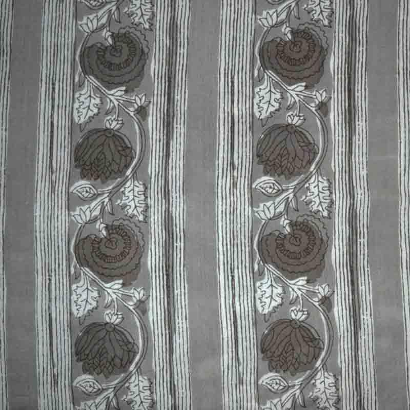 Grey Bagru Print Indian Cotton Blouse Fabric