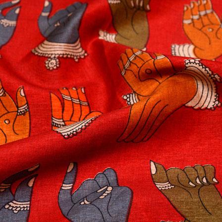 Grey-Orange and Red Hands Mudra Kalamkari Manipuri Silk Fabric 7569