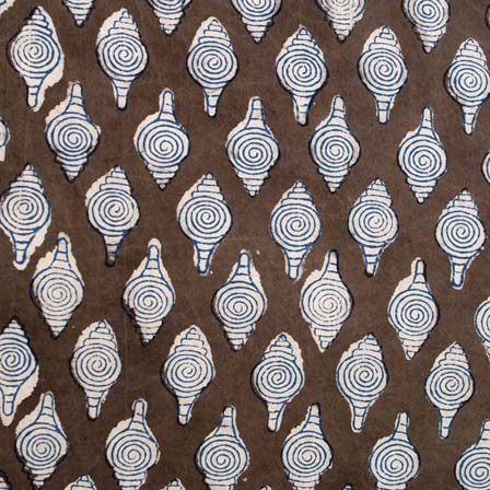 1 MTR-Grey and White Shell pattern Block Print Cotton Fabric