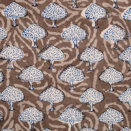 1 MTR-Grey and White Tree Pattern Block Print Cotton Fabric by the yard