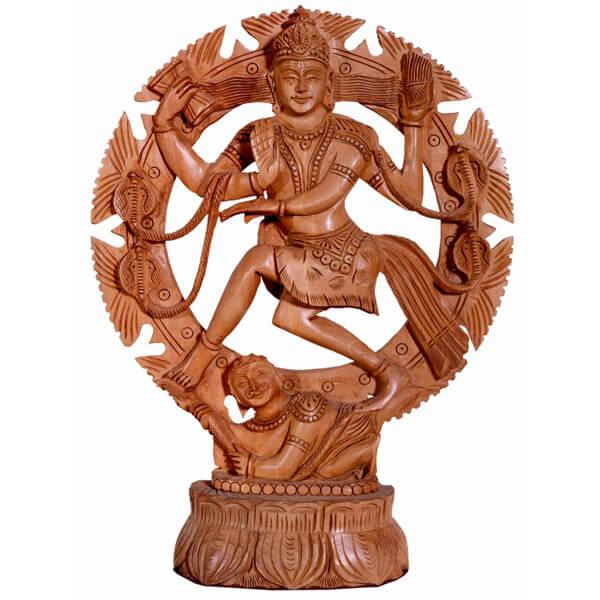 Handcarve Teak Wood Natraj Statue