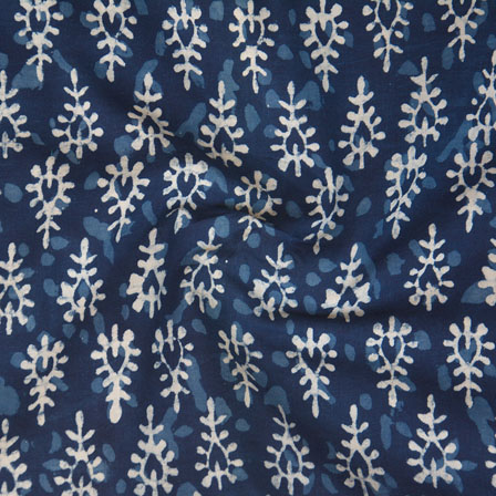 Indigo White Block Print Cotton Fabric-14766