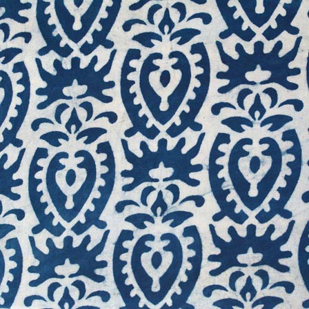 Indigo Blue and White Floral Hand Block Printed Indian Cotton Fabric by the yard