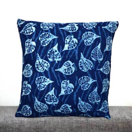 Indigo Blue and White Floral Leaves Hand Printed Cotton Cushion Cover