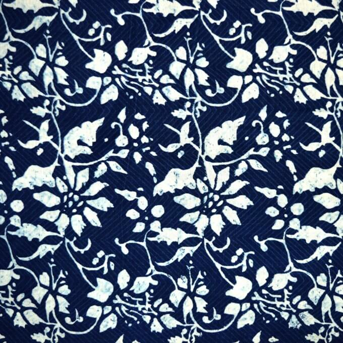 Indigo Blue and White Flower pattern Pure indian cotton Fabric