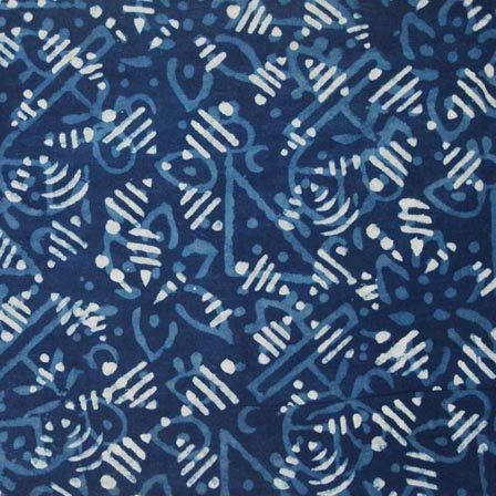 Indigo Blue and White Hand Block Printed Indian Cotton Fabric by the yard