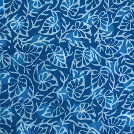 Indigo Blue and White Leaf Pattern Hand Block Printed Indian Cotton Fabric by the yard