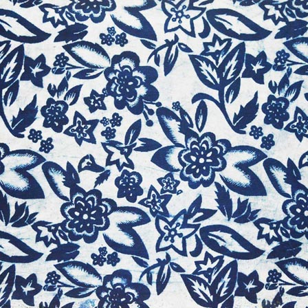 Indigo Blue and White Leaves and Florals Hand Block Printed Cotton Fabric