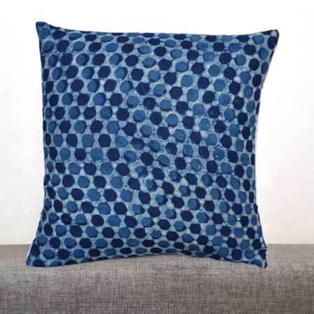 Indigo Blue and White Modhal Print Cotton Cushion Cover