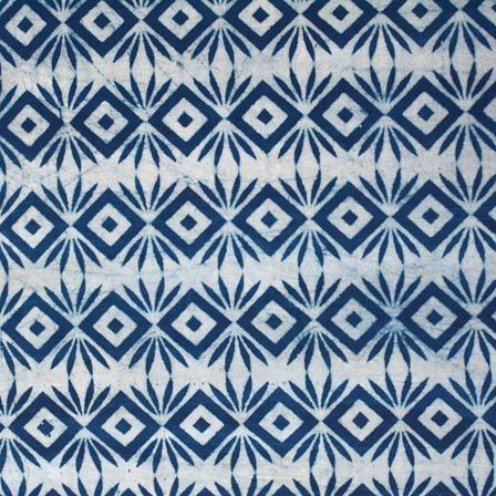 Indigo Blue and White Multi Tringles Indian Cotton Fabric by the Yard