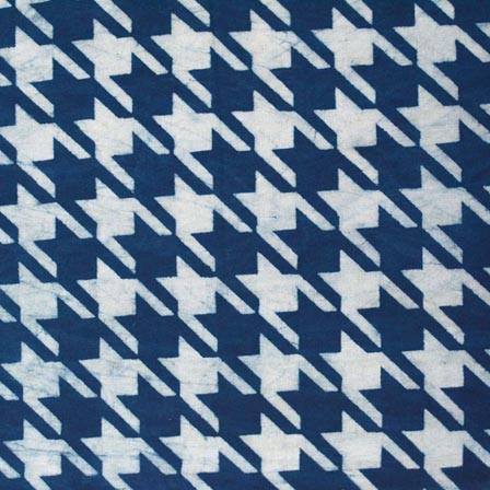Indigo Blue and White Symmetrical Star Indian Cotton Fabric by the yard