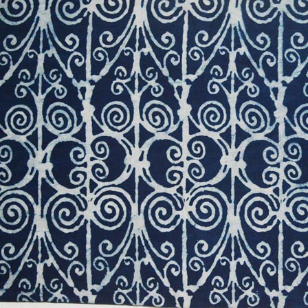 Indigo Blue and White Tie Dye Pattern Indian Cotton Fabric by the Yard