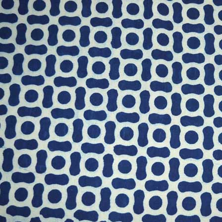 Indigo Blue and White Traditional Pattern Cotton Ajrakh Fabric