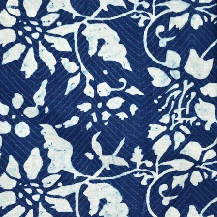Indigo Blue and White Traditional Print Cotton Fabric