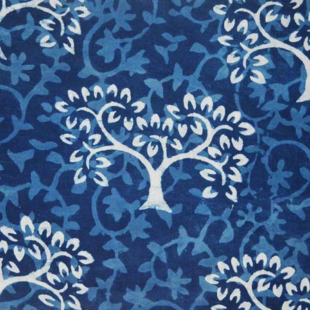 Indigo Blue and White Tree Indian Cotton Fabric by the yard