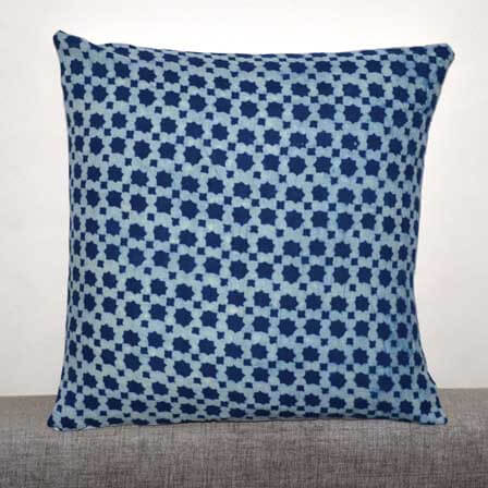 Indigo Blue and White Unique hand Block Print Indian Cotton Cushion Cover