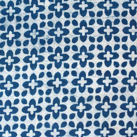 Indigo Blue and White crosssign Hand Block Printed Indian Cotton Fabric