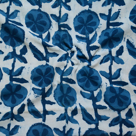 Indigo White Block Print Cotton Fabric-14593