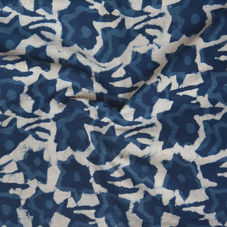 White Indigo Block Print Cotton Fabric-14747