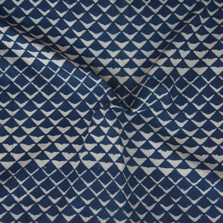 Indigo White Block Print Cotton Fabric-14748