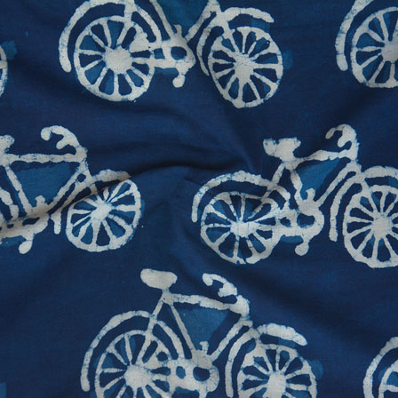 Indigo White Block Print Cotton Fabric-14753
