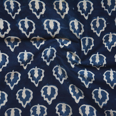 Indigo White Block Print Cotton Fabric-14757