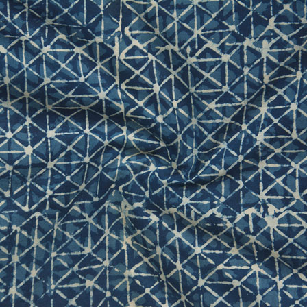 Indigo White Block Print Cotton Fabric-14771