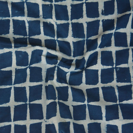Indigo White Block Print Cotton Fabric-14774