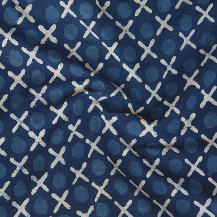 Indigo White Block Print Cotton Fabric-14775