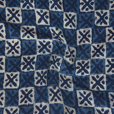 Indigo White Block Print Cotton Fabric-14776