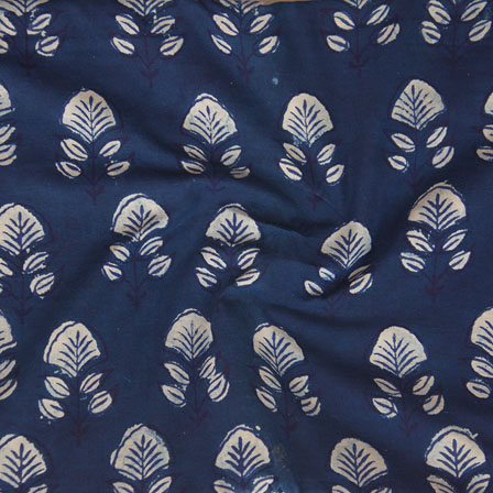 Indigo White Block Print Cotton Fabric-14778