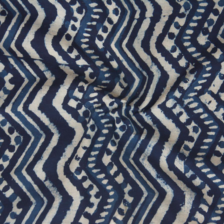 Indigo White Block Print Cotton Fabric-14780